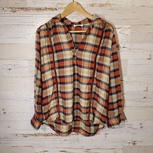 LUSH flannel print long sleeve top